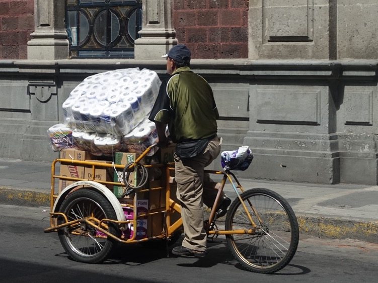 Delivering toilet paper takes on a different perspective in Mexico City.
