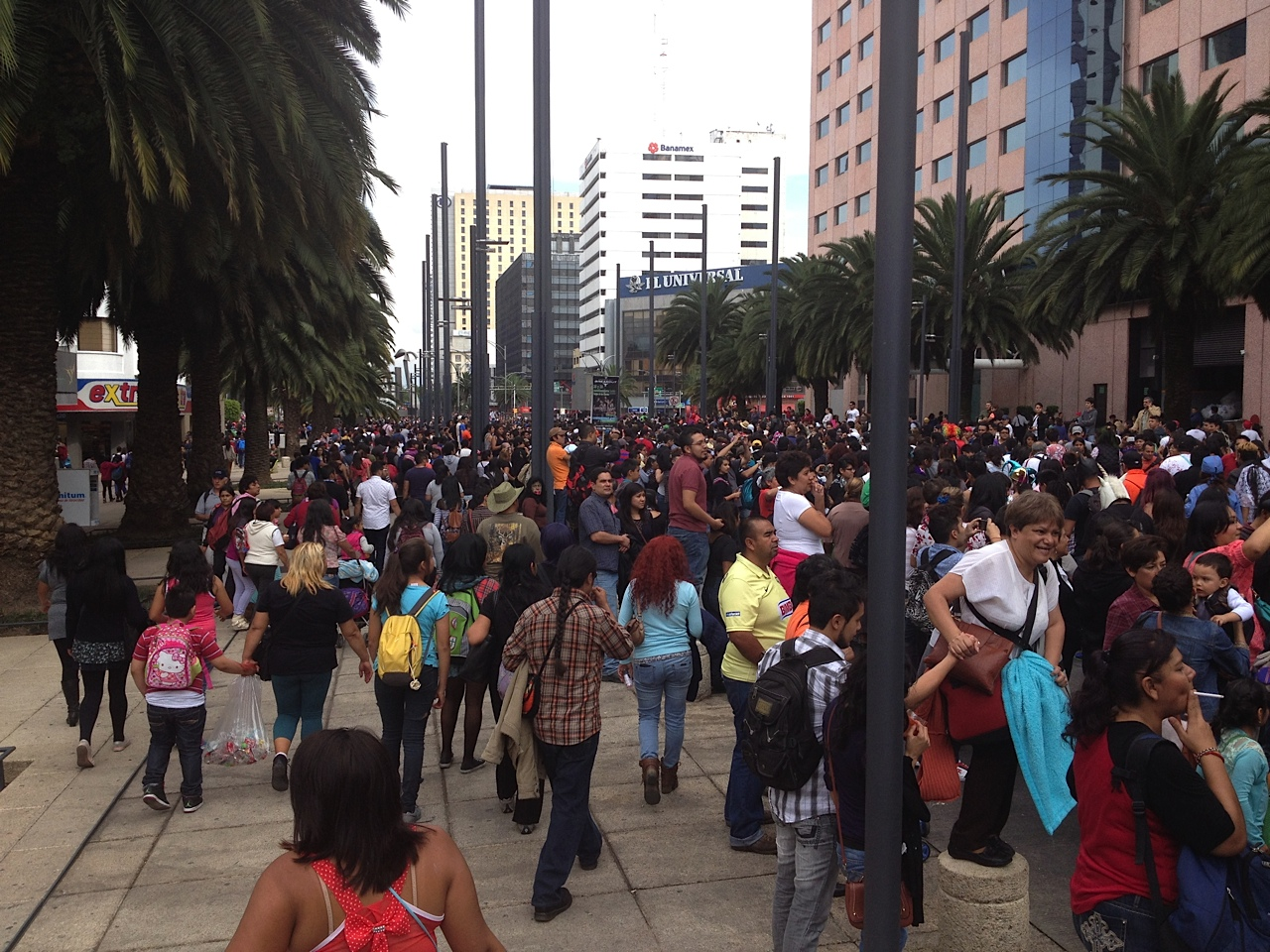 People trying to get to and from Monumento a la Revolucion plaza for a major event.