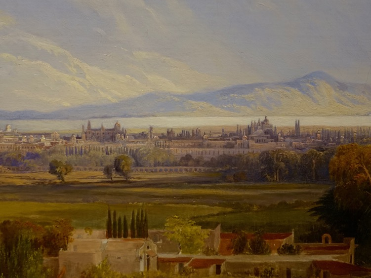 This is a painting of Mexico City in the 16th century. Not the lake and mountains in the distance.  Today the lake is gone and the city is climbing the mountains, severing as a reminder of how urban sprawl has existed from centuries, it is not a late 20th century phenomena.