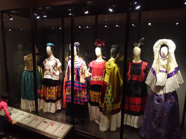 Like Rivera, Kahlo was interested in both past and present cultures. This was a display of her dresses.