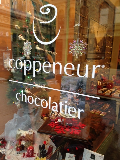 Coppeneur Chocolatier has the yummiest windows on the block.   This store is now closed