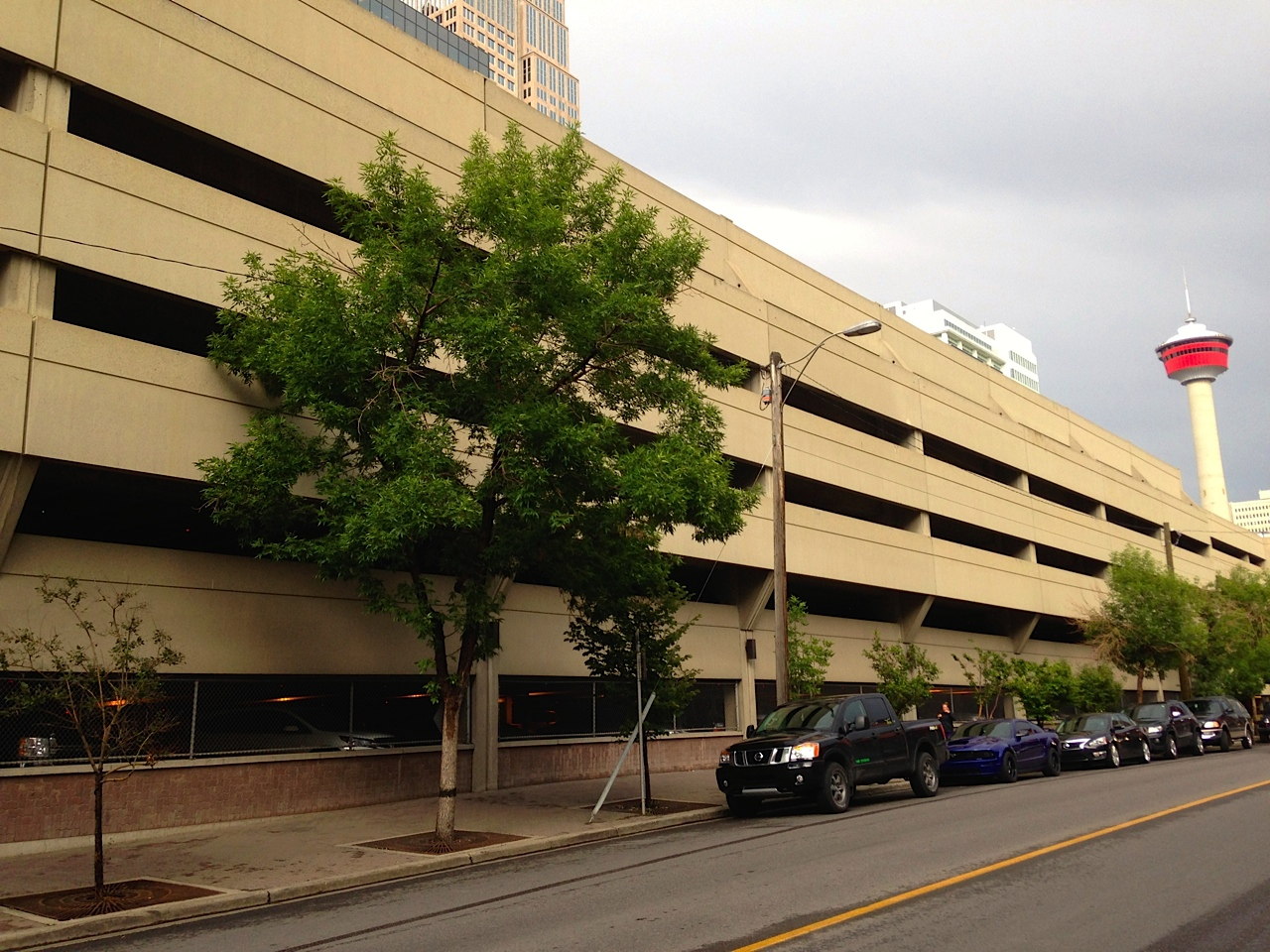 A view of the massive City Centre Parkade along north side of 10th Ave from 2nd to 4th Streets.