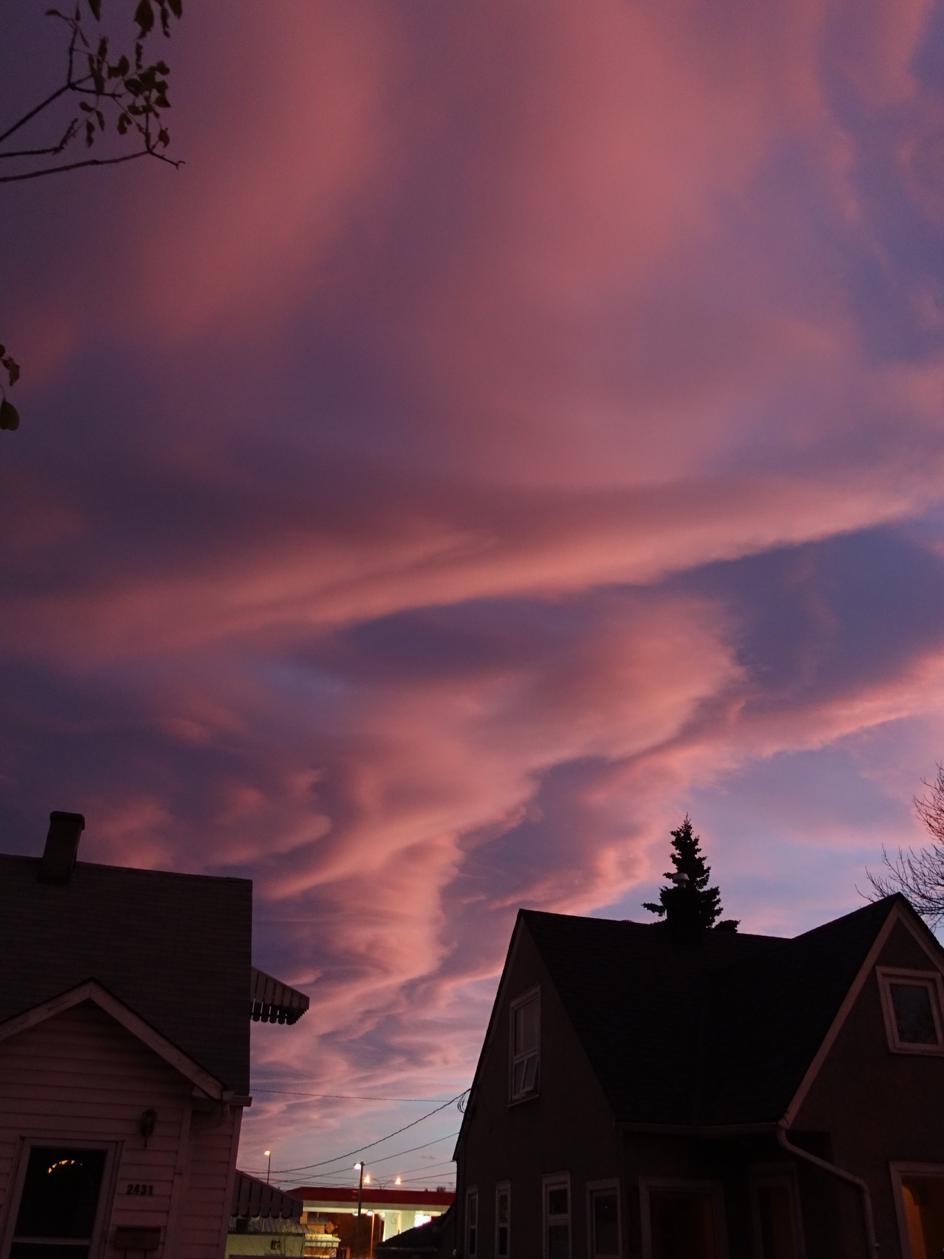 Pink Clouds Over Crowchild Trail, Calgary (my street)