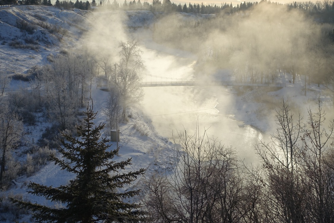 The Elbow River looked like it was on fire on morning when walking Rossi along the ridge at River Park dog park.