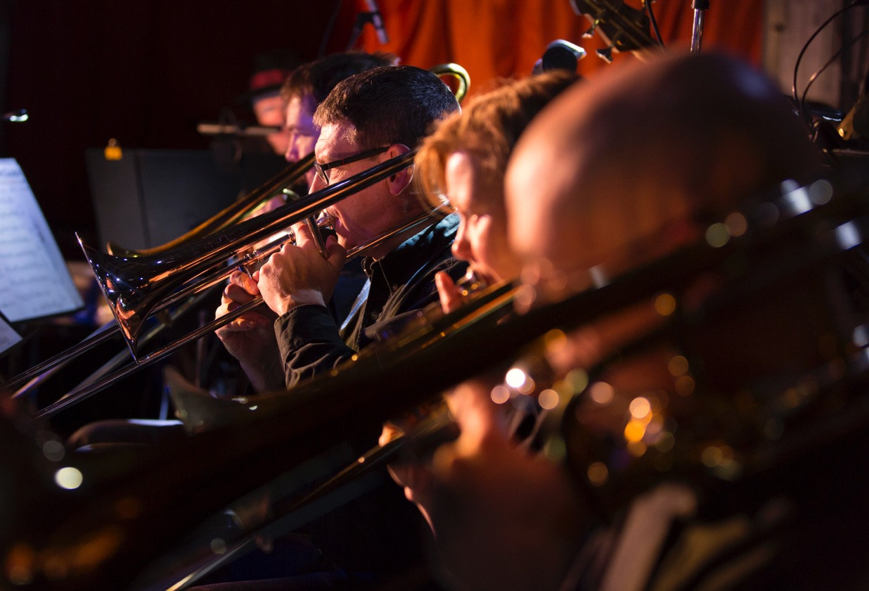 Trombone section.Wednesday Night Big Band (photo credit: Gerry David)