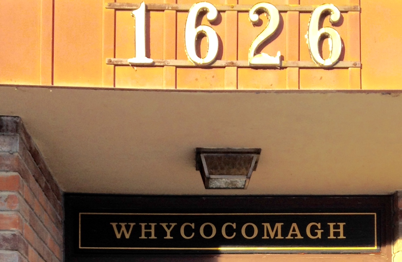 I am fascinated by the names of mid-century condos in Calgary's inner-city communities.  This might just be the best one, found in Sunalta.  Whycocomah is Scottish and three is a rural community in Nova Scotia with the same name next to the We'koqma'q First Nations community.
