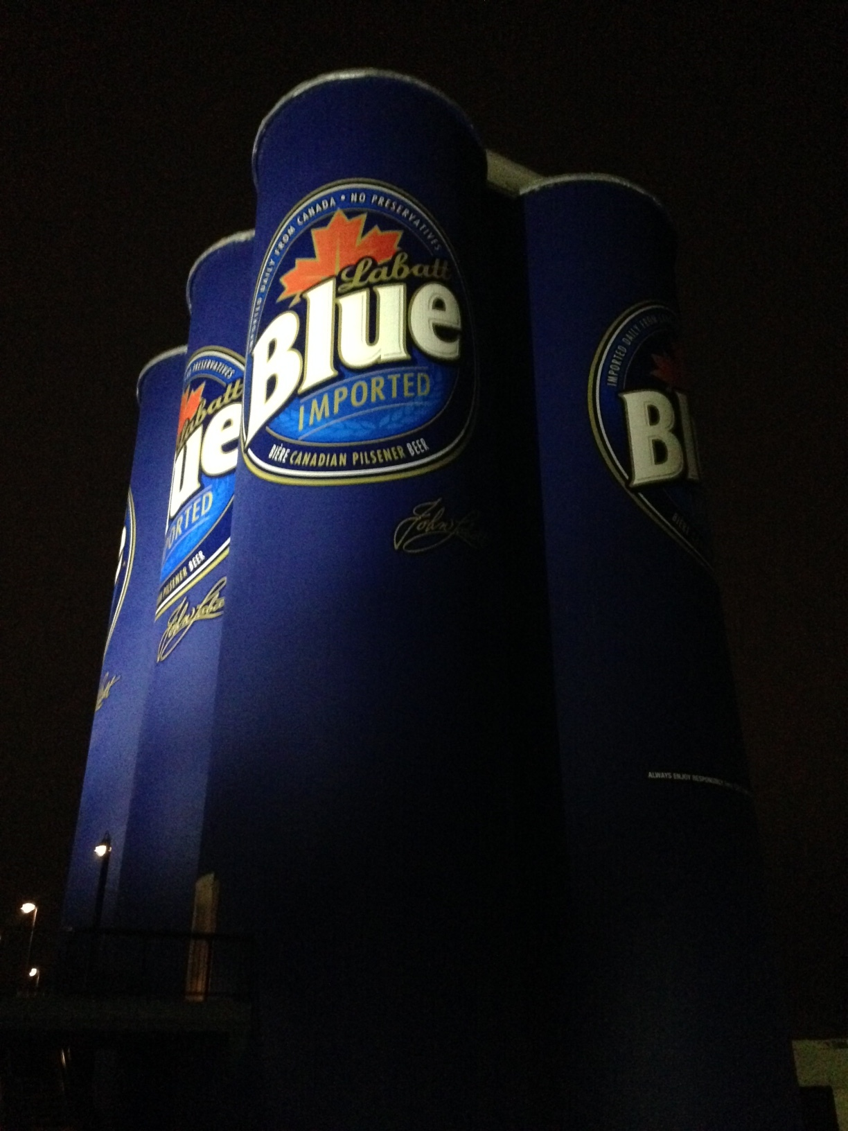 Knox: Now this is a drink! These Labatt Blue Cans are abandoned grain elevator silos 10 storeys tall and are part of Riverworks sports oriented entertainment complex. RW