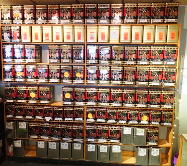 The wall of teas is impressive.