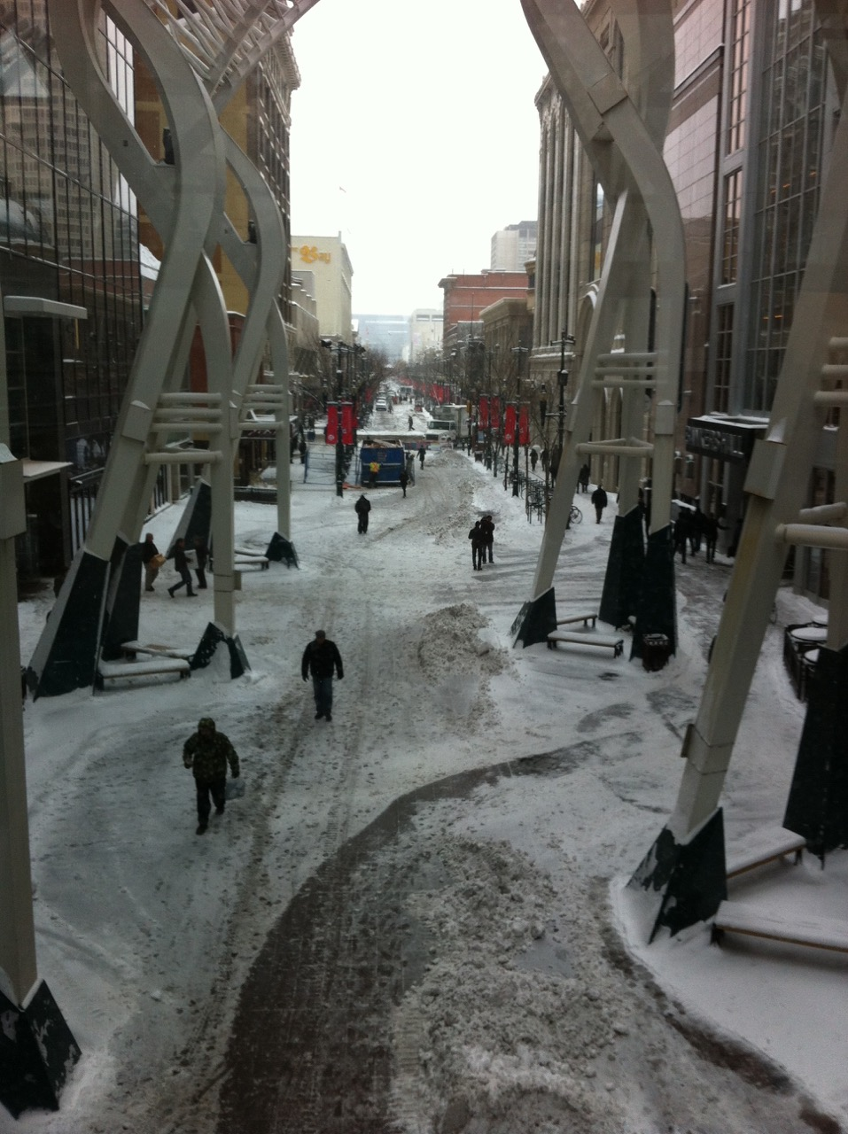 Stephen Avenue is a inhospitable place in the winter when it cold and windy.