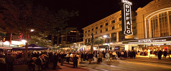 Buffalo's Theatre District becomes very vibrant when Shea Theatre is hosting a major event.