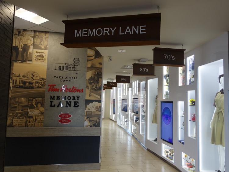 The second floor's Memory Lane is a showcase of Tim Horton memorabilia and historical photo collage of Tim Horton and Hamilton images.