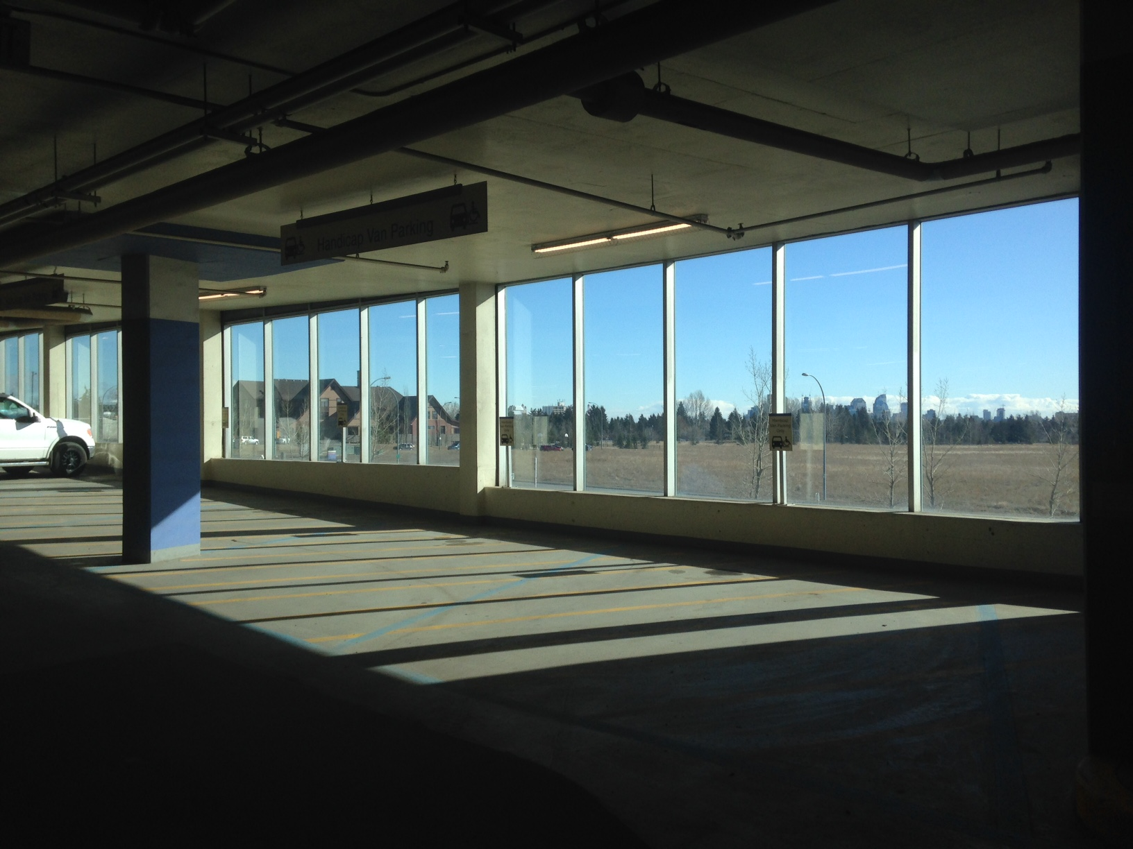 This stunning picture window has outstanding views of the downtown skyline and the Rocky Mountains.
