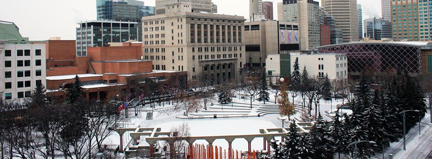 Olympic Plaza is another public space located in Calgary's CBD. The red brick building is part of the Arts Commons complex that includes that entire block.  it includes four theatre spaces and one concert hall.  On the next block is the Glenbow Museum and the Telus Convention Centre with Hyatt and Marriott hotels.