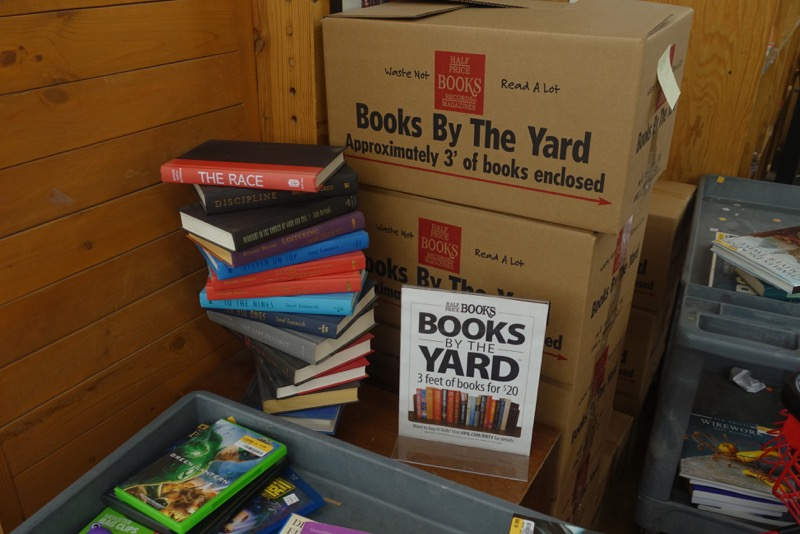 Imagine selling books by the yard. That Pat is a genius.