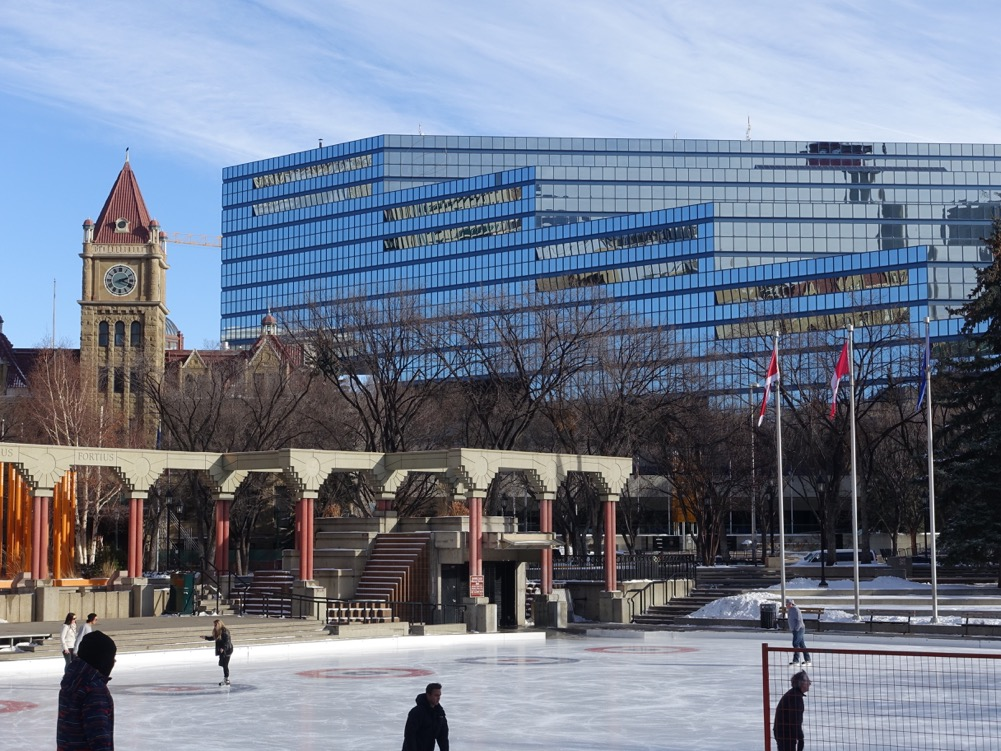 Olympic Plaza in winter attracts a few skaters.