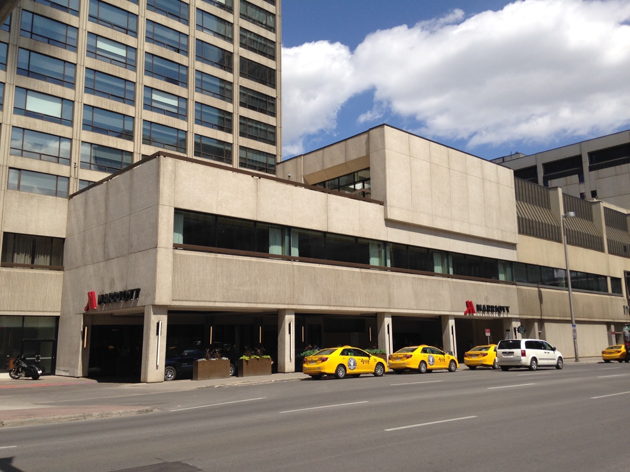 Marriott Hotel's 9th Ave entrance across from the Calgary Tower at Stampede 2015.
