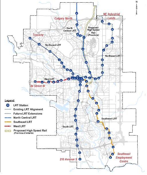 Calgary's current and planned LRT routes are all downtown centric.