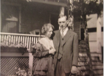 Hi Richard , here is a picture of my Grandfather the recipient of the cards and his Sister Annie who wrote many of them (not the ones from Calgary). This is a picture of them in front of my Grandfathers home in Edmonton when Annie was visiting.The house is still there and I have many fond memories of times spent at my Grandparents home.The picture is out of focus as it is a picture of a picture