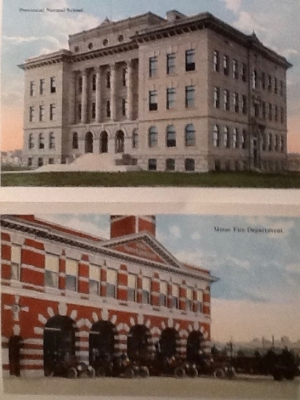 Top: Provincial Normal School, later became McDougall School and then the McDougall Centre. Bottom: Fire Hall #1 still exists at the corner of Centre Street and 6th Avenue.