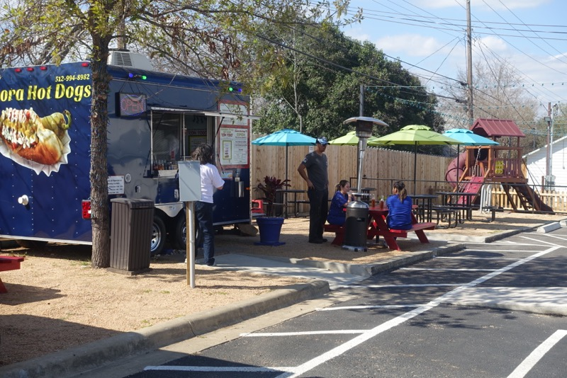 Lo-Burn's food cart lot includes several food carts, a barber shop and playground. Very Cool!