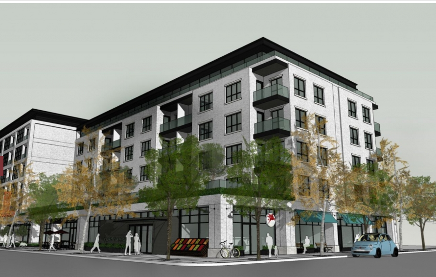 Proposed Tigerstedt Block on Centre street with retail at street level and condos above.