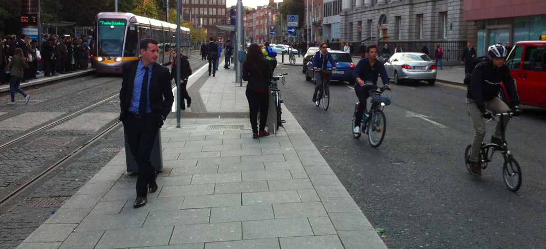 In Dublin transit, pedestrians, cyclists and drivers all share the road. Travel opens everyone's eyes to new possibilities in urban design and sharing space.