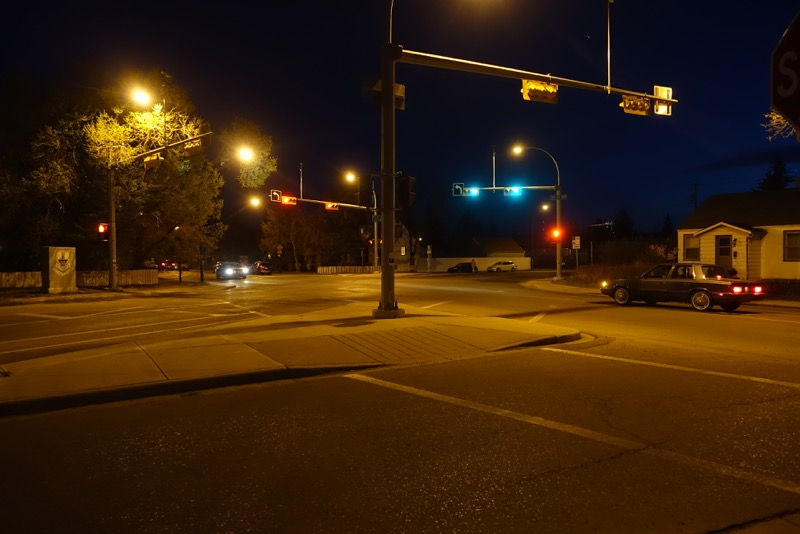 At 9:30 on a Monday evening the traffic at the corner of 19th St. and 5th Ave. NW is sparse, perhaps flashing red and yellow lights would be more environmentally friendly?
