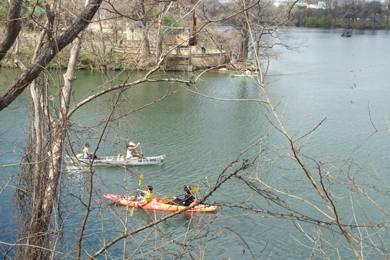 Lady Bird Lake is very animated with canoes, kayaks, fishing boasts and other water craft creating a colourful and animated sense of place.
