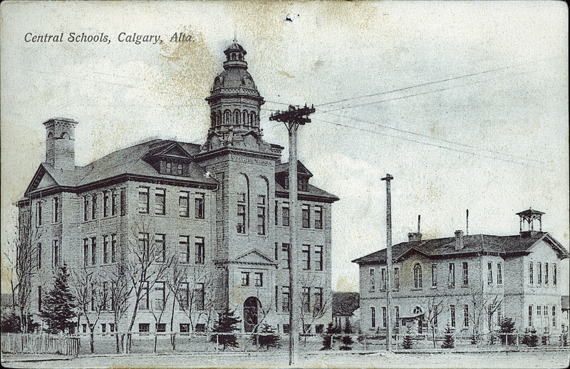 Old photo of Central Schools which later became James Short School and now is a park and parkade.