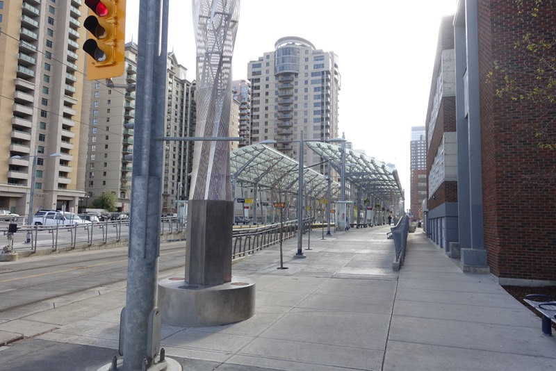 Calgary's 7th Avenue downtown transit corridor is a very grey, stark place most of the time.