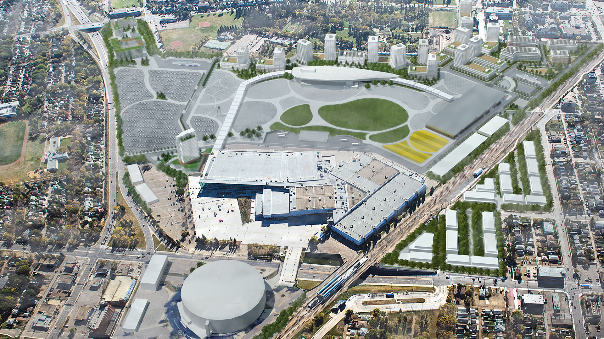 "Rendering of the proposed redevelopment of Northlands Park in Edmonton. The Rexall arena is the circle building at the bottom, the old race track is the new ""urban festival site"" at the top of the image."