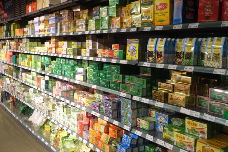 Wall of teas, Nation Fine Foods, Hamilton
