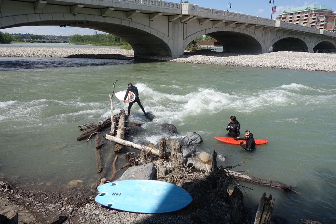 River surfing on the Bow River.
