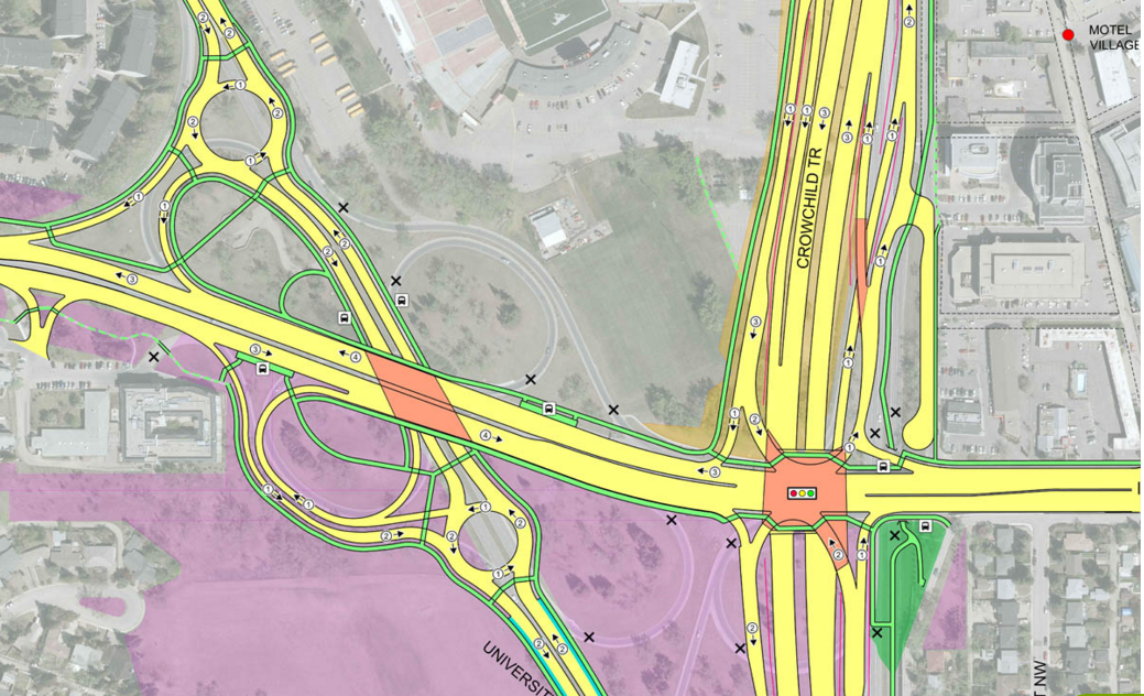 Crowchild Trail expansion concept for 16th Ave NW and Crowchild Trail, part of a mega makeover from 24th St. NW to 17th Ave SW. One of the concepts is for a tunnel for part of the Crowchild Trail. Crowchild Trail is a key corridor as it links two universities, three hospitals and three new urban villages. Currently this project is not funded. ( City of Calgary Crowhchild Trail Expansion link)