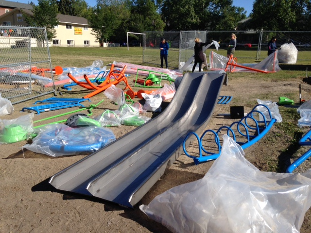 The aftermath of unpacking the playground equipment looked like we had just been to IKEA.