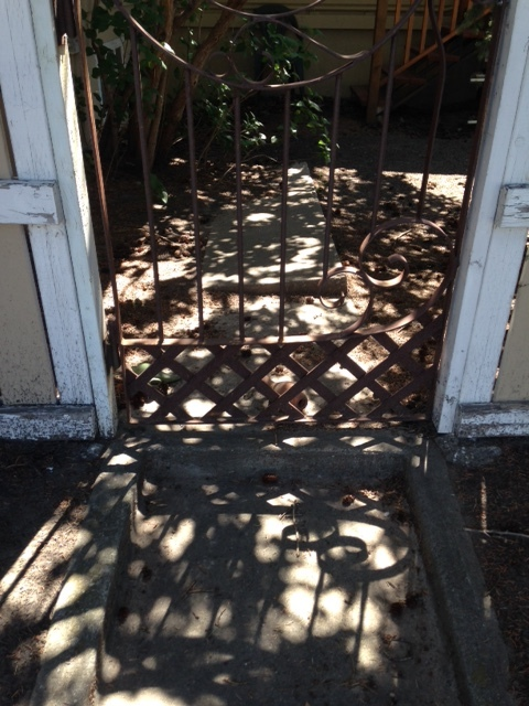I loved the playfulness of the light caused by the trees and the gate.