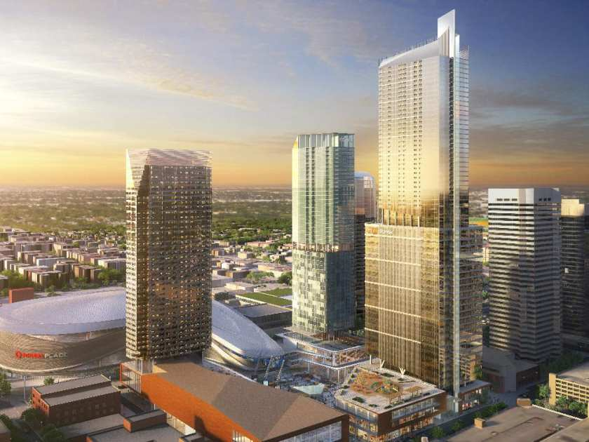 This is a computer rendering of the new Edmonton Ice District with Rogers Place bottom left and Stantec Tower being the tallest building.