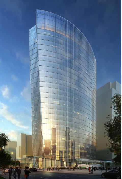 The vessel shaped 707 Fifth glass office tower is also under construction in Calgary.