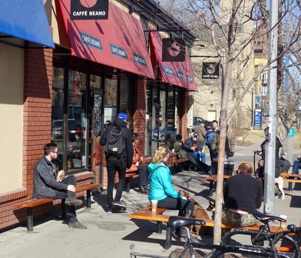 Calgary's 17th Avenue has a vibrant cafe culture.