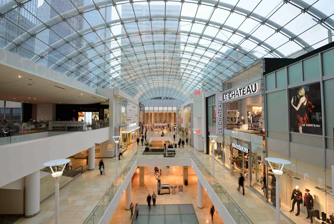 The Core shopping center has a massive two-block long glass ceiling that is the largest of its type in the world  .Edmonton has nothing to match this urban gem.