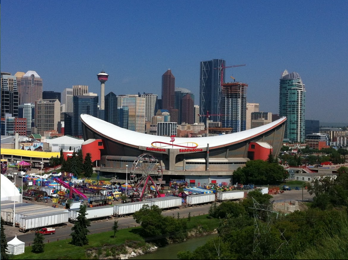 "Scotiabank Saddledome was built for the 1988 Winter Olympic.  Its unique saddle-shaped roof is synergistic with Calgary's contemporary cowboy brand. (Photo credit: GEC Architecture)  Editor's Note: An edited version of this blog was published Oct 1, 2016 by CBC Calgary's ""Calgary At A Crossroads"" titled,  ""Design Wars: It's Edmonton vs Calgary for the architectural cup."""