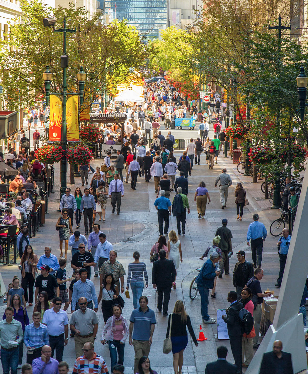 Edmonton has nothing to match Calgary's Stephen Avenue Walk at lunch hour. (photo credit: Jeff Trost)