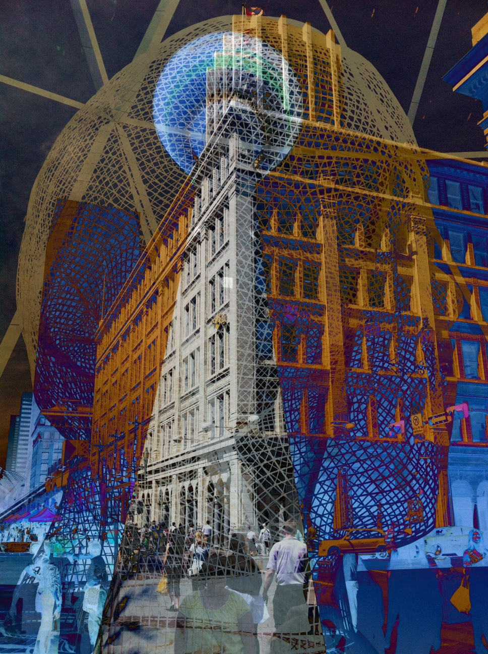 Calgary Tower,Stephen Avenue, the historic Hudson Bay department store and Wonderland all mesh together in this image.