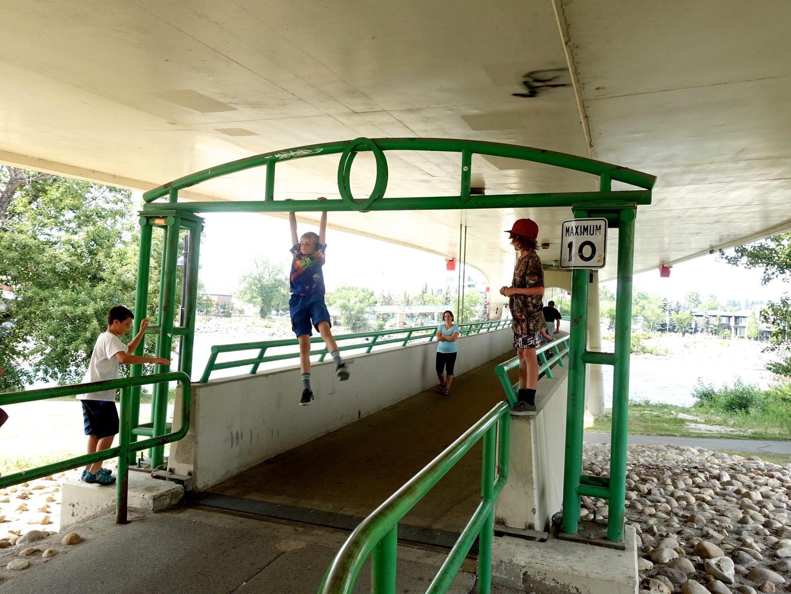 Eau Claire's other pedestrian bridge is also a playground.