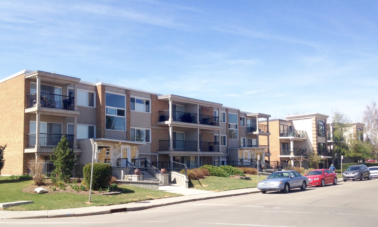 Surrounding the Britannia Plaza shopping block are these mid-century condos and apartments.