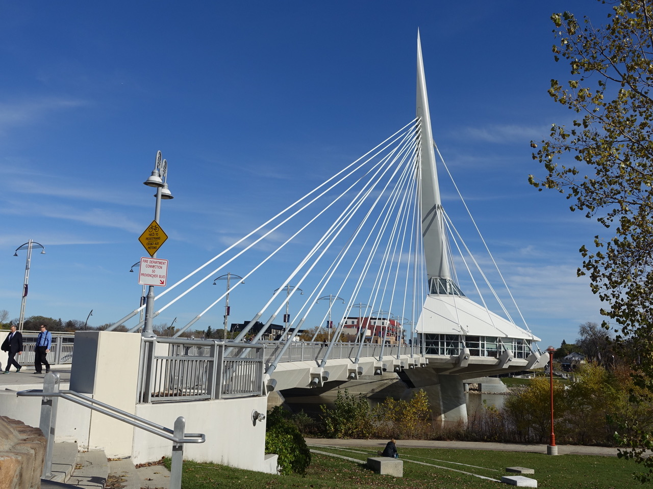 The Esplanade Riel Bridge connects The Forks to the community of St. Boniface across the Red River.  It has a restaurant in the middle that offers spectacular views of downtown, the river and the Human Rights Museum.