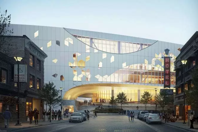 Computer rendering of the Caglary's new Central Library looking west from East Village.
