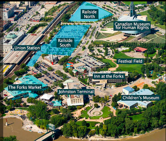 Aerial view of The Forks