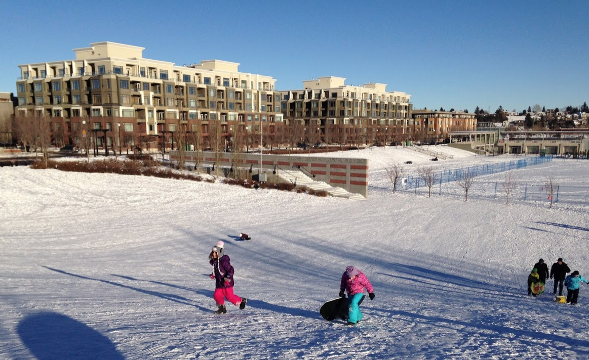 The new park in Bridgeland is great as it is a safe family toboggan hill with nearby amenities like cafes. Perhaps a toboggan festival would be fun? Something simple as everyone going to their local hill and posting photos.  How can we create more hills in our local playgrounds - they don't all have to be huge? They are great for rolling, running and cycling down in the summer too.