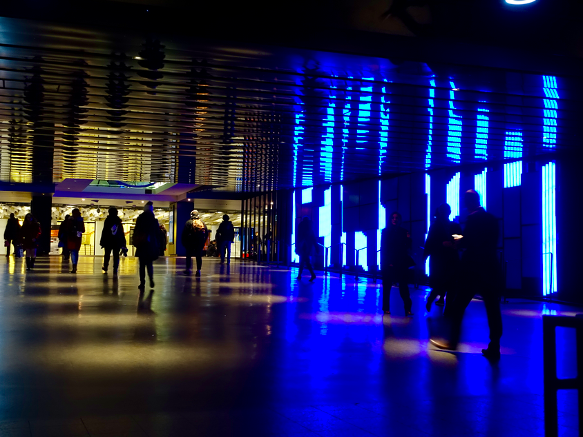 This is another of Montreal's amazing public spaces that uses light and colour to create wonderful pedestrian experiences. This is at the Place des Art.